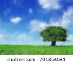 painting of a green field with... | Shutterstock . vector #701856061