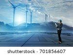 wind power plant. renewable... | Shutterstock . vector #701856607