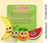 cartoon juicy fruits banner....