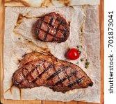 gourmet grill restaurant steak... | Shutterstock . vector #701873041