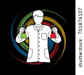 scientist with flask chemical... | Shutterstock .eps vector #701876107