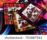peruvian handicraft in market | Shutterstock . vector #701887561