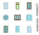 house window icon set. flat set ...   Shutterstock .eps vector #701889277