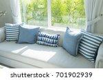 beach blue cushion and sofa of... | Shutterstock . vector #701902939