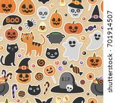 vector cute seamless halloween... | Shutterstock .eps vector #701914507