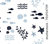 sea vector seamless pattern... | Shutterstock .eps vector #701914759