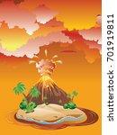 illustration of cartoon volcano ... | Shutterstock .eps vector #701919811
