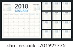 calendar planner for 2018 year  ... | Shutterstock .eps vector #701922775