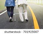 elderly woman exercise walking... | Shutterstock . vector #701925007