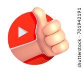 thumb up cartoon hand. 3d rende | Shutterstock . vector #701942191