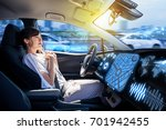 young woman riding autonomous... | Shutterstock . vector #701942455