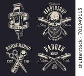 set of vintage barbershop... | Shutterstock . vector #701949115