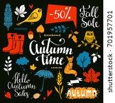 fall  autumn sale design... | Shutterstock . vector #701957701