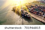 container ship in export and... | Shutterstock . vector #701966815