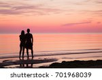 young couple looking far away... | Shutterstock . vector #701968039