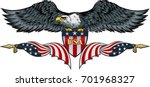 Stock vector american eagle with usa flags 701968327