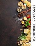 italian food. pasta ingredients ... | Shutterstock . vector #701972299