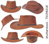 A Brown Cowboy Hat On White...