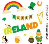 trip to ireland or dublin. set... | Shutterstock .eps vector #701987611