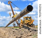 pipe layer on the repair of the ... | Shutterstock . vector #701990251