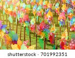 colourful of windmill toy in... | Shutterstock . vector #701992351
