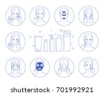 Instructions for facial care: nutrition, moisturizing, toning, cleansing.Line style.Isolated on white background.Easy to change color.Vector illustration.