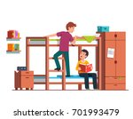 student boy climbing up bunk... | Shutterstock .eps vector #701993479