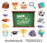 back to school supplies icons... | Shutterstock .eps vector #702002311