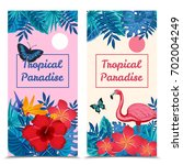 flat design tropical paradise... | Shutterstock .eps vector #702004249
