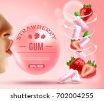 realistic gum composition with... | Shutterstock .eps vector #702004255