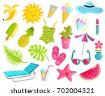 collection of summer stuff... | Shutterstock .eps vector #702004321