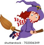 cartoon little witch flying use ... | Shutterstock .eps vector #702006349