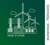 wind power station. linear...   Shutterstock .eps vector #702013231