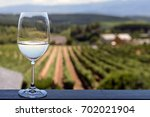 glass of white wine with blurry ... | Shutterstock . vector #702021904