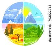 four seasons landscape.... | Shutterstock .eps vector #702022765