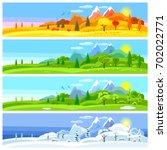 Four Seasons Landscape. Banner...