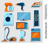 set of home appliances.... | Shutterstock .eps vector #702023251