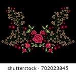 embroidery folk neckline... | Shutterstock .eps vector #702023845