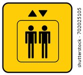 elevator sign yellow. vector. | Shutterstock .eps vector #702025105