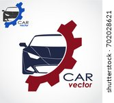 car with gear color logo | Shutterstock .eps vector #702028621