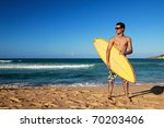 man with surf board on beach | Shutterstock . vector #70203406