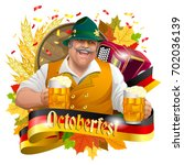 smiling man with beer mugs ... | Shutterstock .eps vector #702036139