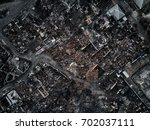 old home after fire and burned... | Shutterstock . vector #702037111