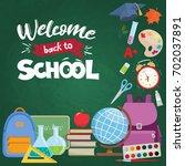 set of different school... | Shutterstock . vector #702037891