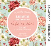 vector autumn vintage hortensia ... | Shutterstock .eps vector #702039499