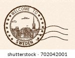 welcome to sweden. brown postal ... | Shutterstock .eps vector #702042001