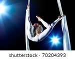 young woman gymnast. on black... | Shutterstock . vector #70204393