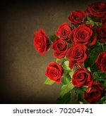 Stock photo big red roses bouquet vintage styled 70204741