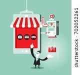 online shopping concept with... | Shutterstock .eps vector #702052261