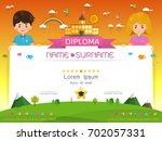 certificate kids diploma ... | Shutterstock .eps vector #702057331